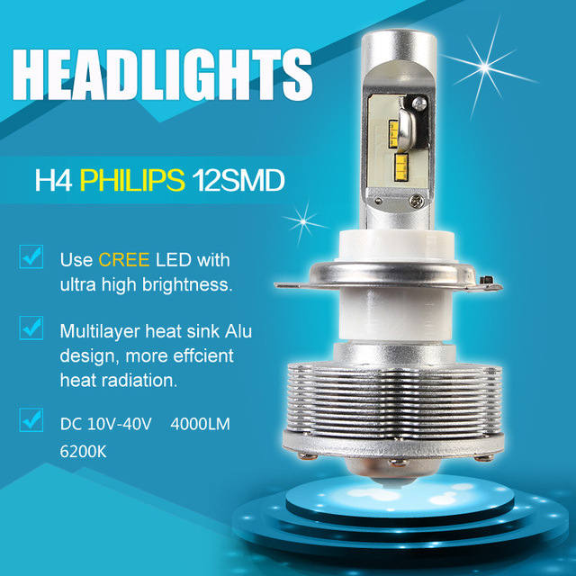 Pairs New Design H4 LED Automobiles Motorcycles Headlights Cars Bulbs 12smd Ultra High Bright 6000K White Car Styling