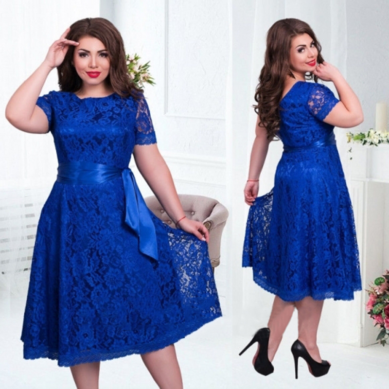 2016 cute style summer women dress fit and flare solid short regular empire o-neck mid-calf lace sashes