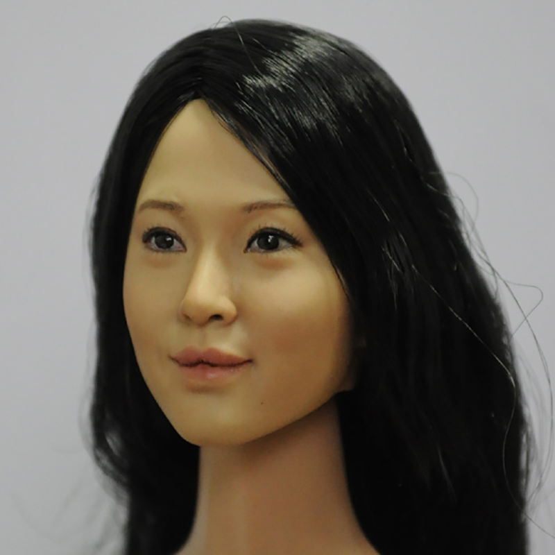 KUMIK Head KM13-83 1:6 Asian Yellow Skin Beauty Head Carving Girl Female Head Sculpt Fit Hot Toys Phicen 12 Action Figure Body 1 6 head sculpt carving model kumik 16 18 hot sideshow toys ttl enterbay custom male man fit 12 ph action figure doll toy body