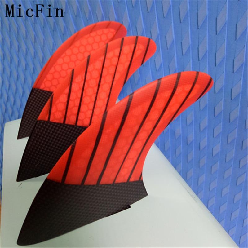 Micfin červená Honeycomb Ploutve sklolaminát Surfboardové ploutve - Vodní sporty