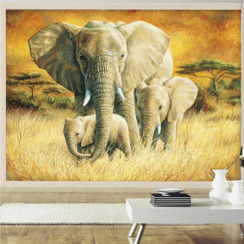 Custom photo wallpaper beautiful Oil Painting elephant family nursery school decoration background wall mural wallpaper family photo