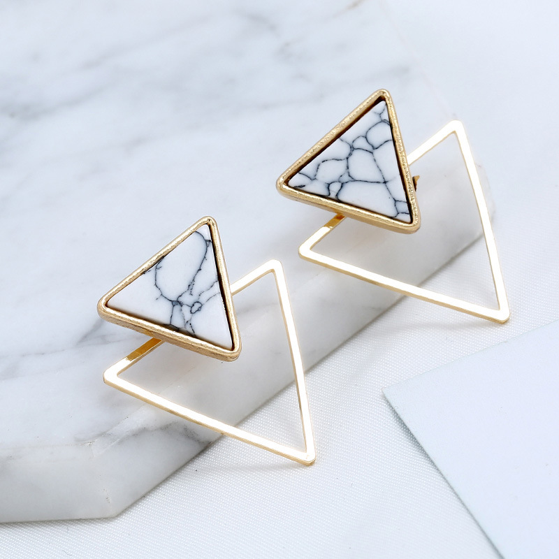 New Triangle Stone Geometric Earrings Fashion Design Punk Earrings For Wedding Party Jewelry Gift Wholesale