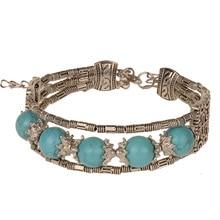 Women Bracelets Bangles Adjustable Bracelet Chinese Ethnic Color Beads Antique Silver Tone Handmade Jewelry 4 colors