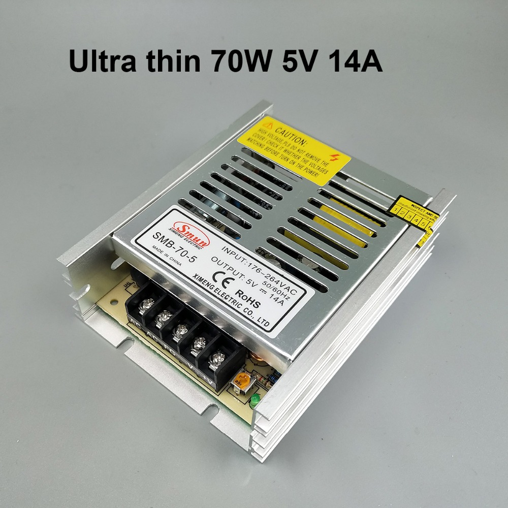 70W 5V Ultra thin Single 5 volt Output Switching power supply for LED Strip light 176V-264V INPUT 201w led switching power supply 85 265ac input 40a 16 5a 8 3a 4 2a for led strip light power suply 5v 12v output