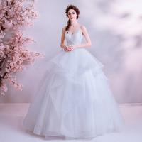 Spaghetti Straps Wedding Dresses V neck Puffy Ball Gown Pleats Tulle Floor Length Tiered Skirt Bridal Gowns vestido de noiva
