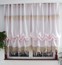 ZHH 2016 New Pastoral Style Adjustable Balloon Curtains for Living Room Beautiful Curtains with Lace for Window Treatment