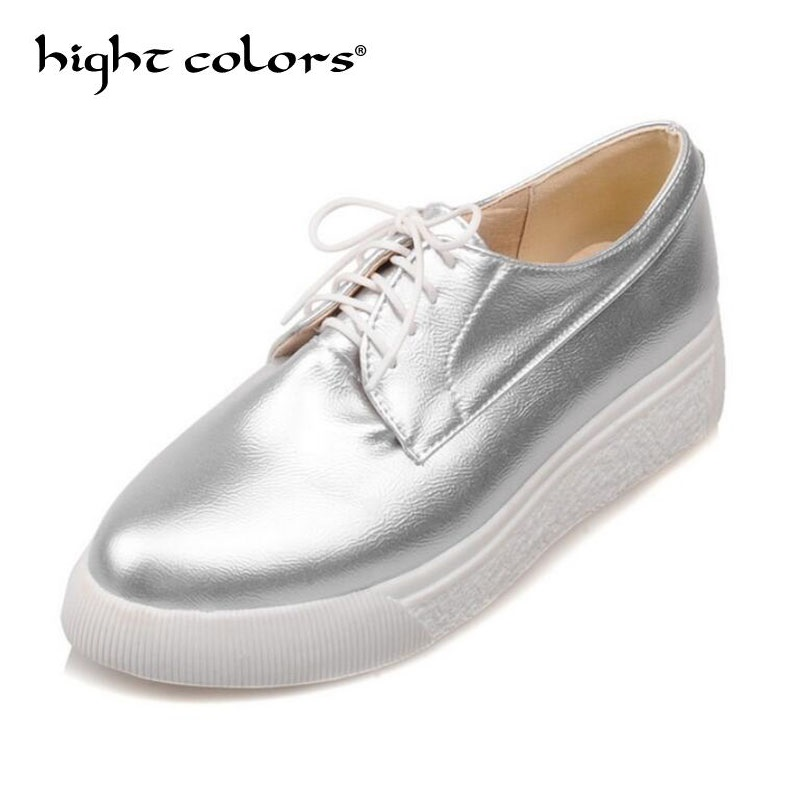 Silver Gold Creepers Platform Shoes For Women Oxfords Brogue Faux Leather Lace Up Pointed Toe Flats Shoes Footwear US Size 43 foreada genuine leather shoes women flats round toe lace up oxfords shoes real leather casual boat shoes brown pink size 34 40