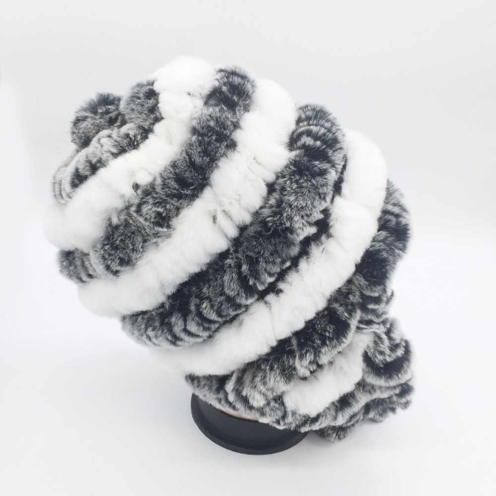 2018 Новая модная женская шапка из натурального меха кролика рекс зимняя женская шапка из меха кролика рекс шапка s теплая вязаная шапка из натурального меха кролика рекс