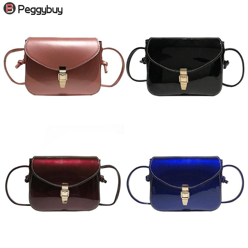 Women PU Leather Shoulder Bags Ladies Patent Clutch Small Square Pure Color Casual Messenger Crossbody Handbags