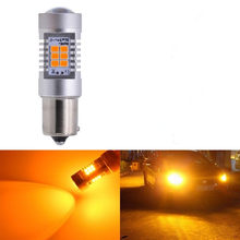 1156 Amber Yellow LED Bulb Car Tail Lamp DRL Fog Brake Light Auto Turn Signal Lights 21SMD 2835 1157 BAY15D(China)