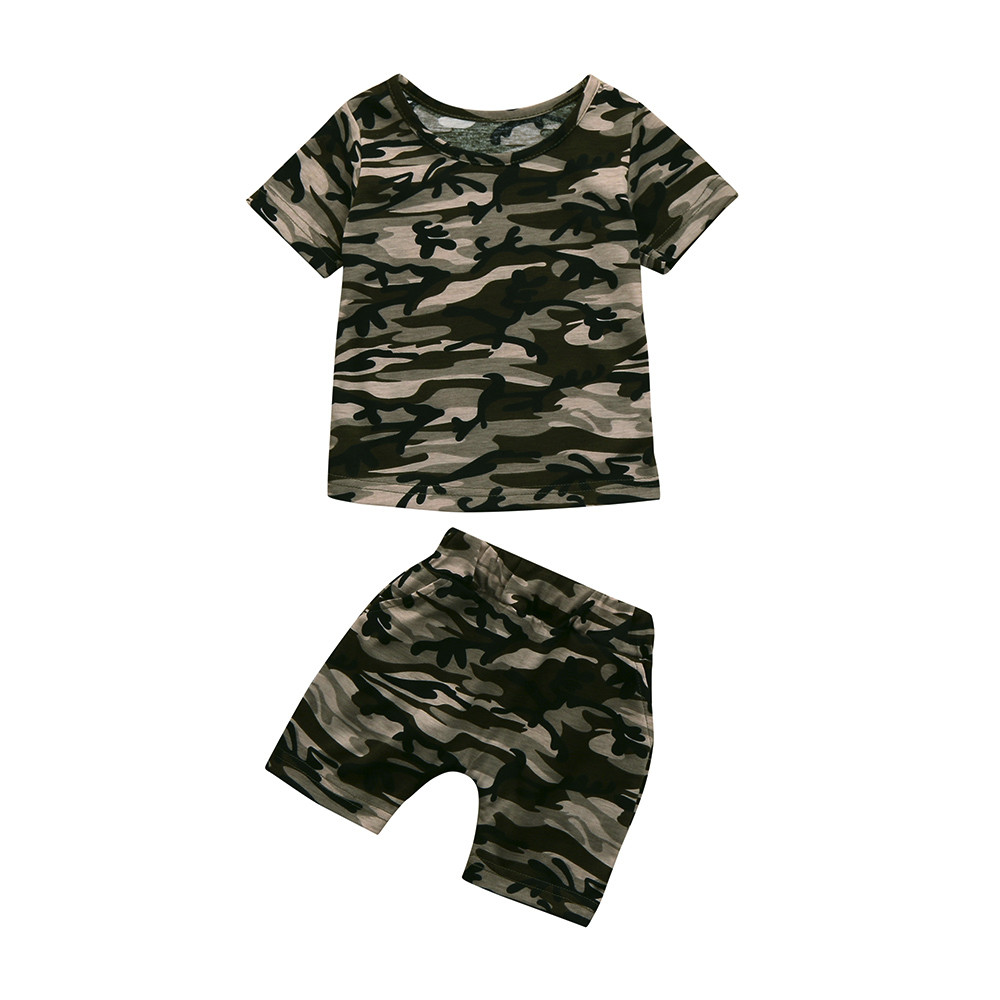 Leisure Ropa Toddler Kids Baby Boys Girls Camouflage T shirt Tops + Shorts Outfits Clothes Set Abbigliamento Bambine(China)
