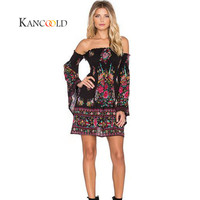 KANCOOLD 2017 Fashion Sexy Women Printing Flare Sleeve Evening Party Mini Club Dress Beach Dress New Sep15