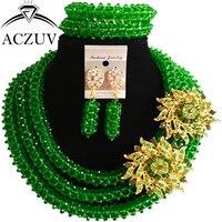 ACZUV Green Crystal Beaded Nigerian Wedding Beads African Jewellery Sets for Women B3R011
