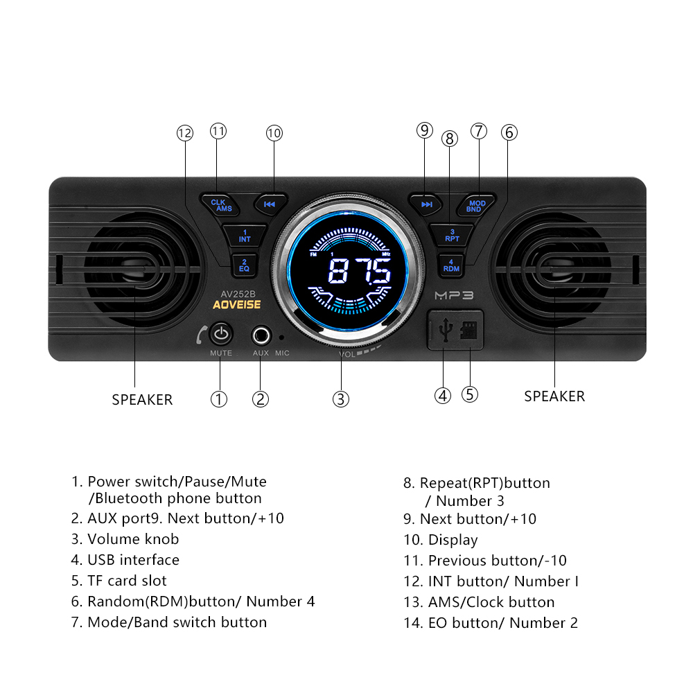 Image 5 - AMPrime Car Radio AV252B Universal 1 din In dash MP3 Audio Player Built in Speaker Stereo FM Support Bluetooth Aux USB/ TF Card-in Car Radios from Automobiles & Motorcycles