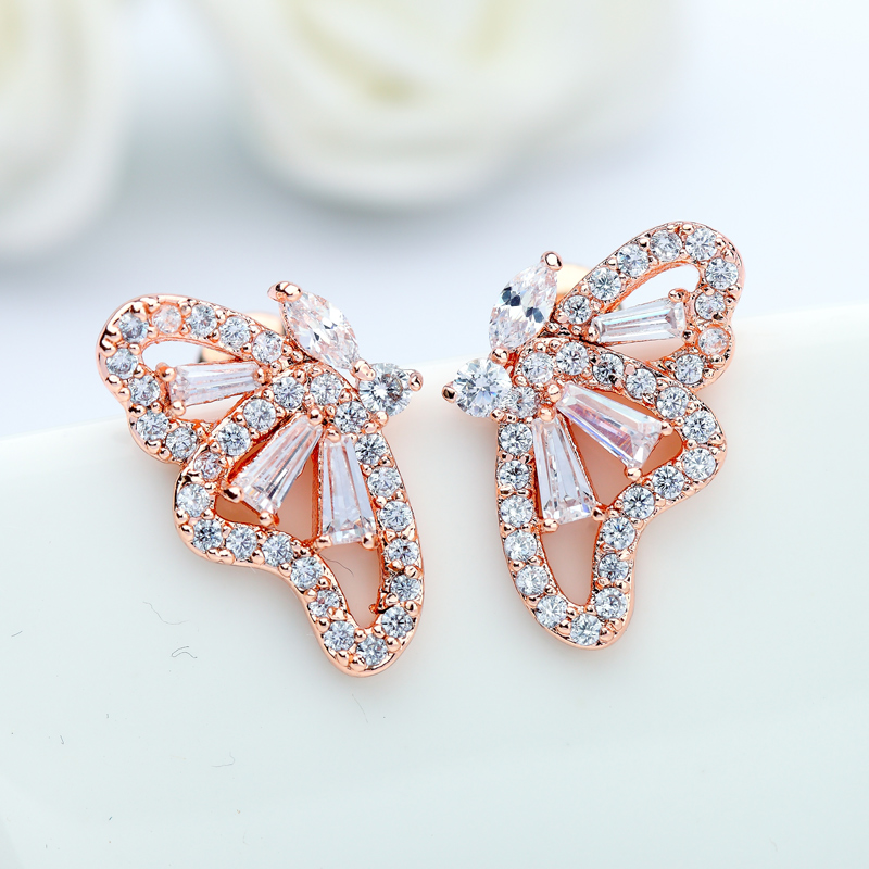 New Arrive Romantic Rose Gold /White Color AAA Cubic Zircon Butterfly Stud Earrings For Gril To Gift Fashion Jewelry