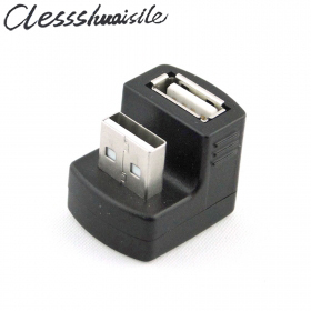 100pcs/lot New Right Angled USB 2.0 Adapter A Male to Female Extension 90 180 Degree Black USB Station