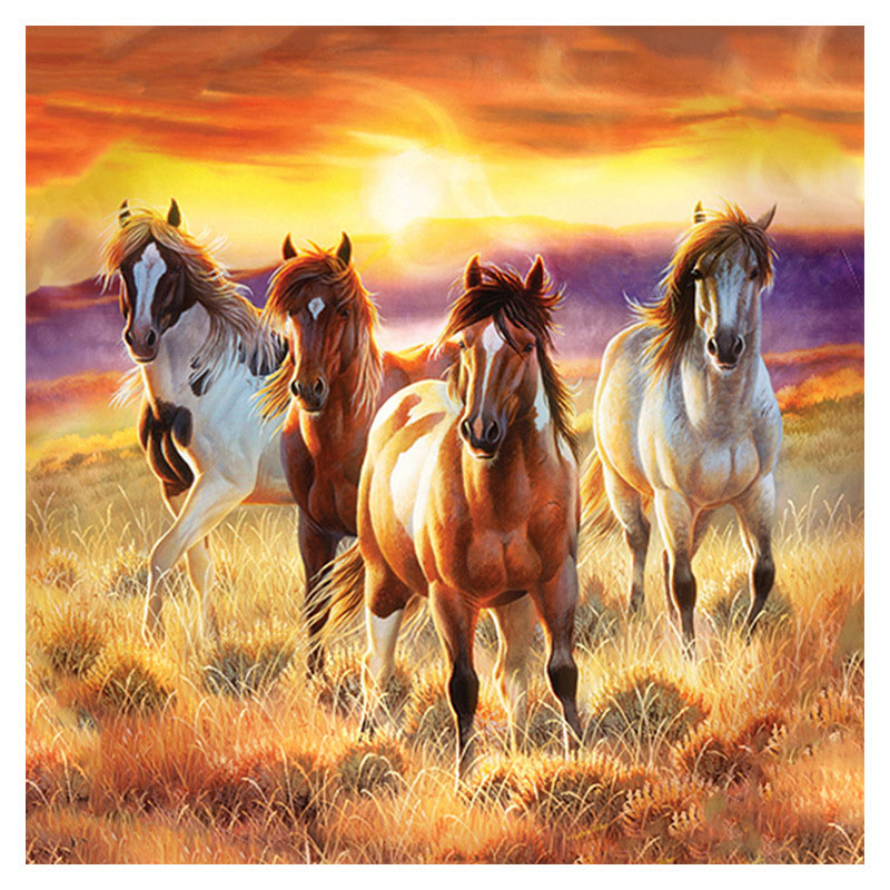 D SH New 5D Diamond Painting Cross Stitch Sunset Horses Run Crystal Needlework Diamond Embroidery Full Diamond Decorative