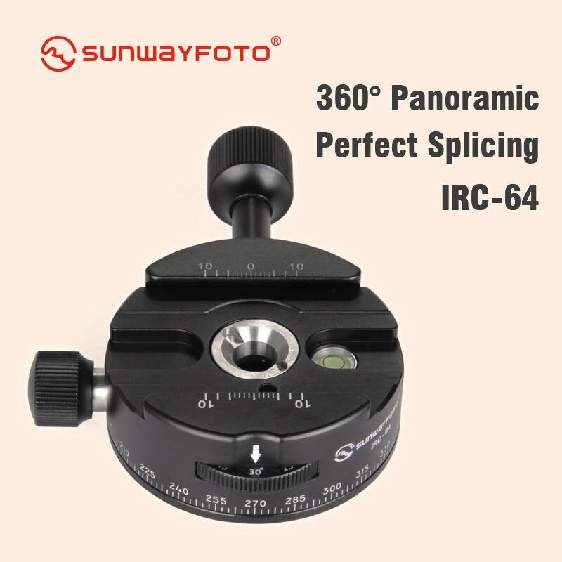 SUNWAYFOTO IRC-64 Statief Hoofd Panoramisch Indexering Rotator panning Klem Quick Release met 4, 8, 12, 24 Detent Klik Stopt Arca