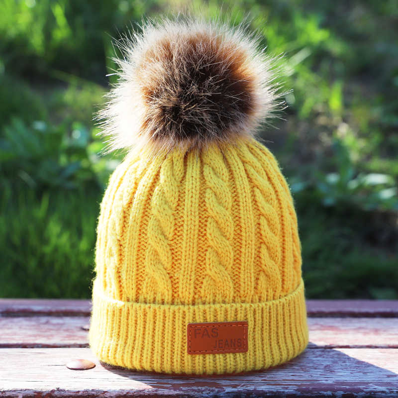 0d3d292e6fd ... Children s autumn and winter knitted cotton hats warm and comfortable ski  hat solid color fashion boy ...