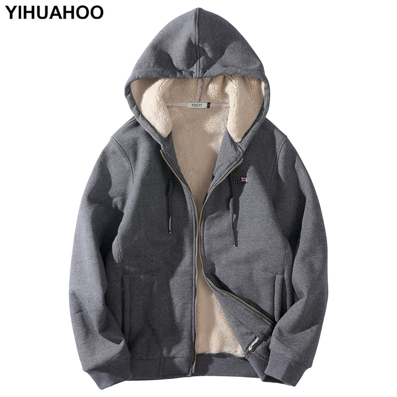 YIHUAHOO Hoodies Men Plus Size 6XL 7XL 8XL Casual Thick Warm Hooded Winter Jacket Coat Fur Lining Hoody Sweatshirt Men PYS-158
