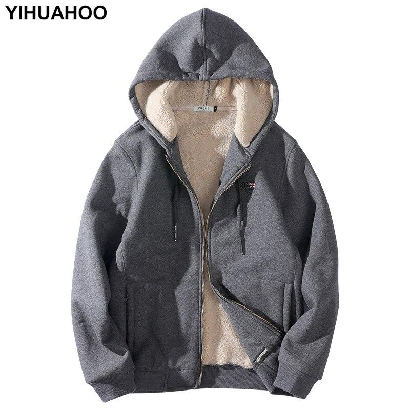 YIHUAHOO sweat à capuche pour homme grande taille 6XL 7XL 8XL décontracté épais chaud à capuche hiver veste manteau fourrure doublure sweat à capuche hommes PYS-158
