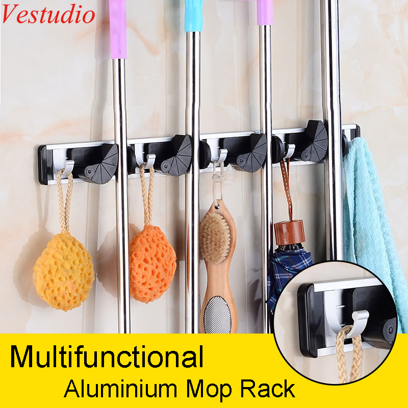 Vidricshelves Metal Wall Mounted Mop Frame Shelf Multifunctional Balcony Wc Besmirchers Storage Rack Hanger Holder Hj-0716 Bathroom Hardware