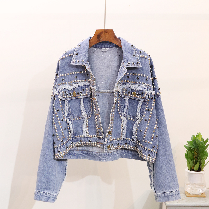 Spring Women Hand Rivet Studded Denim Jacket Loose Outerwear Female Casual Short Denim Coats Big size