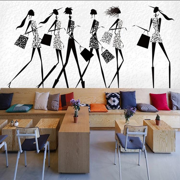 8aae520d9 Arte Papel De Parede 3D moda salão de beleza loja de roupas de moda  feminina preto e branco mural papel de parede de fundo em Papéis de parede  de ...