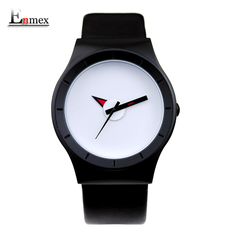 2017 gift Enmex creative simple design brief face with a red pointer leather band water prof  young and fashion quartz watch 2017 new gift enmex hit color steel frabic strap creative dial changing patterns simple fashion for young peoples quartz watches