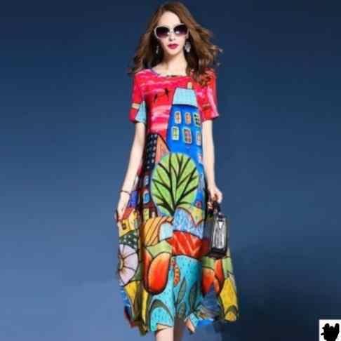 Элегантный женский Vestidos натурального шелка платья 2019 новый летний Винтаж A-Line платье с принтом с О-образным вырезом, короткие платья с длинным рукавом DC943