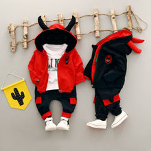 WYNNE GADIS Autumn Baby Boys Tracksuits Cartoon Hooded Jacket Coat + Cotton T-shirt + Casual Trousers Girls Sets Kids 3Pcs Suits