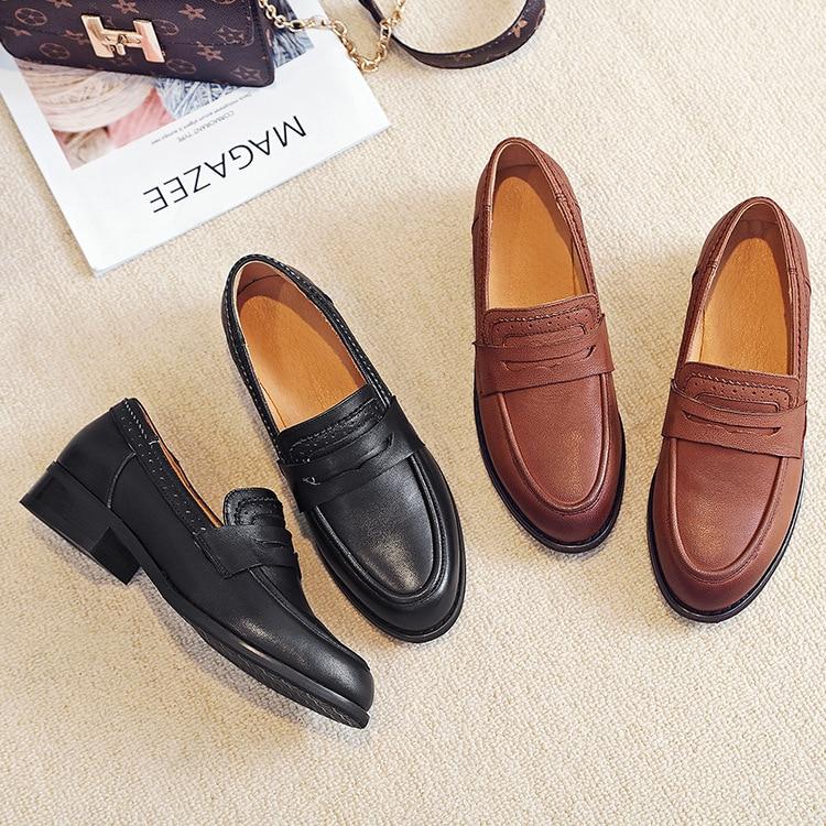 Bsqn Mère Mocassins Taille Femmes Dongnanfeng Peau 2028 Appartements Black brown Véritable 35 En Homme Dames De Cuir Chaussures Rétro 40 Porc Vache Femme qnHFwwtW
