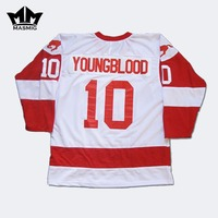 MM MASMIG Youngblood Rob Lowe 10 MUSTANGS Hockey Jersey White For Free Shipping S M L