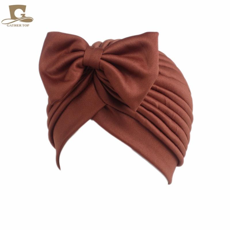 2017 Nieuwe mode vrouwen boog strik ruche tulband vrouwen haar cap - Kledingaccessoires - Foto 6