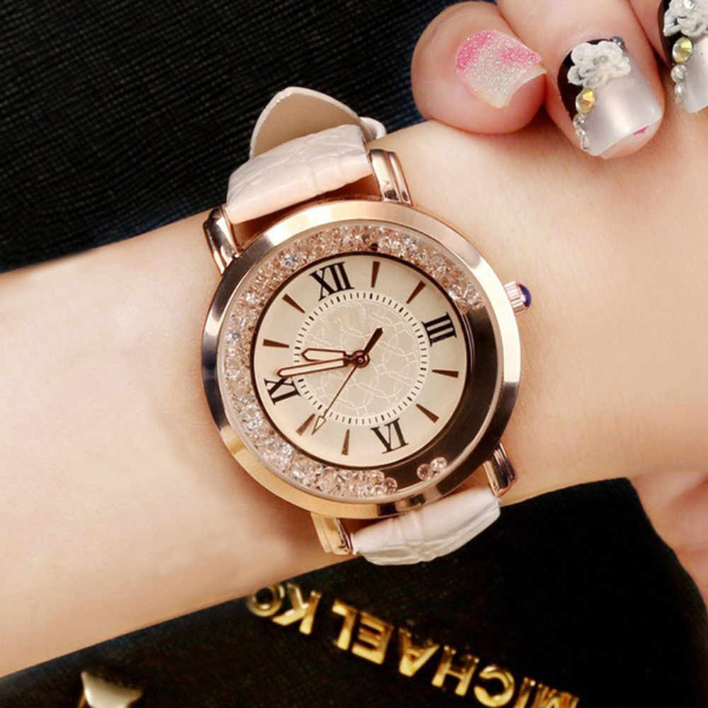 Casual Fashion  Women Fashion Luxury Leisure Set Auger Leather Stainless Steel Quartz Watch dropshipping