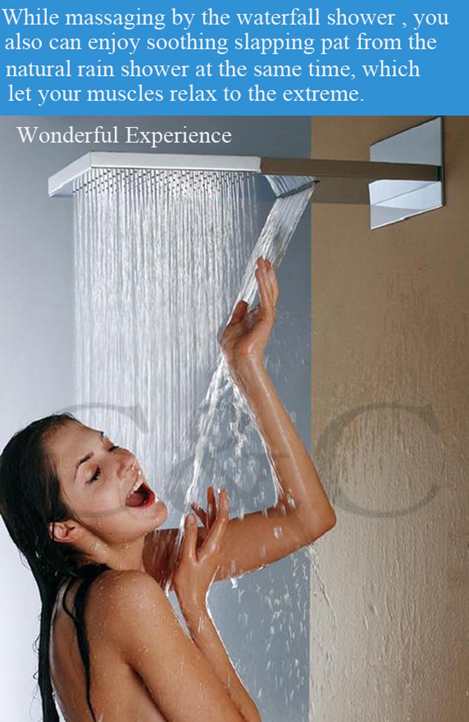водопад насадка для душа с двойной дождь и водопад функции душ из нержавеющей стали 304 щеткой никель новое прибытие bd025
