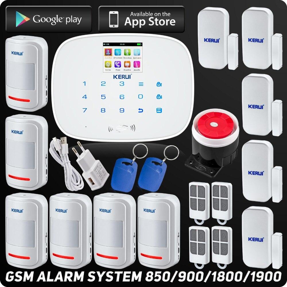 Kerui Sans Fil GSM Accueil Cambrioleur de Sécurité D'alarme Maison Intelligente ISO Android App Contrôle RFID Numérotation Automatique Tactile Afficher Détecteur