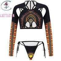 CATTLEYA Long Sleeve Micro Bikini Swimsuit 2017 Brazilian Thong Swimwear Women Bikini Set African Dashiki Print