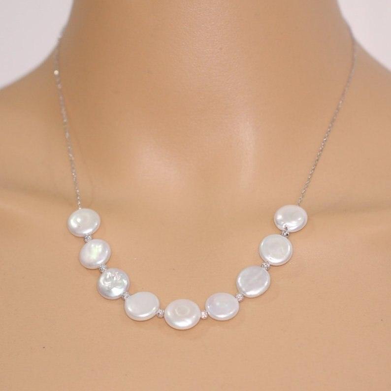 Collier de perles de monnaie, Illusion de couleur blanche perle d'eau douce 925 collier de chaîne en argent, bijoux de cadeau de femmes de fête parfaite