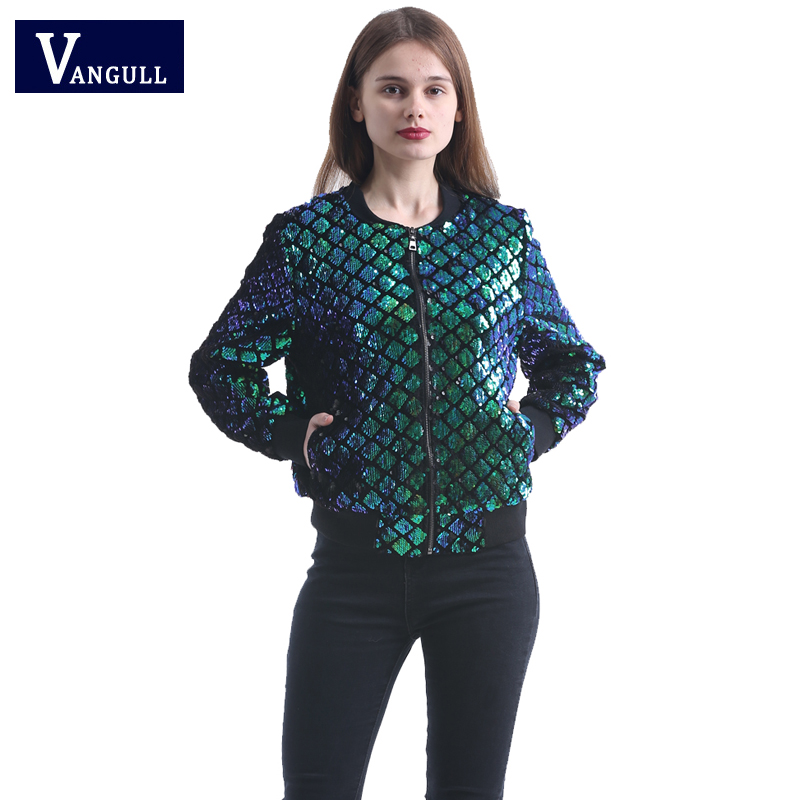 Vangull 2018 new spring high quality cool lady soft sense of Geometric sequins casual all match jacket coat outwear for woman