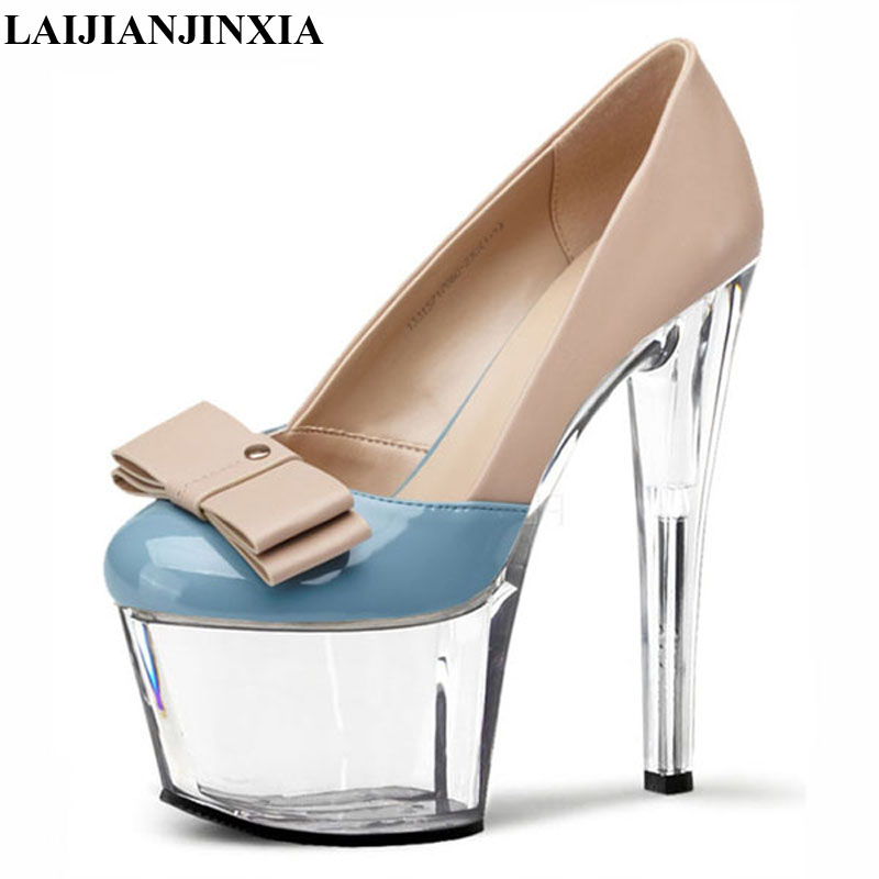 LAIJIANJINXIA New Women Sexy Thick Platform Pumps <font><b>Size</b></font> 34-46 Fashion <font><b>15</b></font> cm Super High Ladies Round Toe High <font><b>Heels</b></font> Shoes image