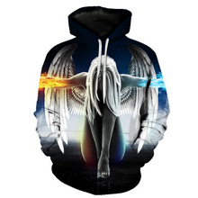 2019 New Angel Hoodies Men 3d Sweatshirt Hooded Pullover Quality  Harajuku Printed Fashion Tracksuit Hoody