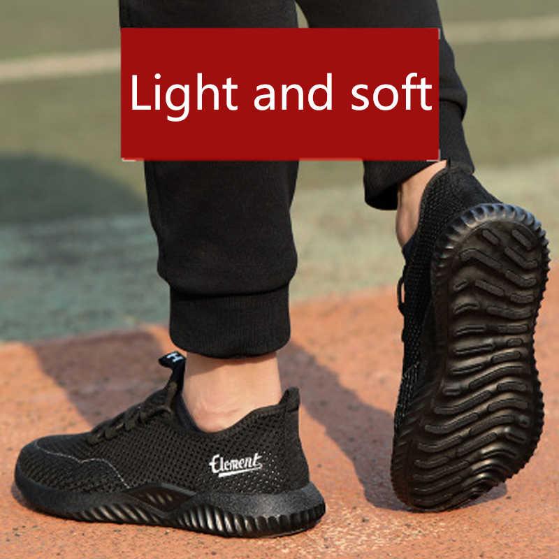 Рабочая страховая обувь мужская летняя дышащая дезодорант безопасная обувь против проколов мягкая подошва удобная обувь для туризма и спорта