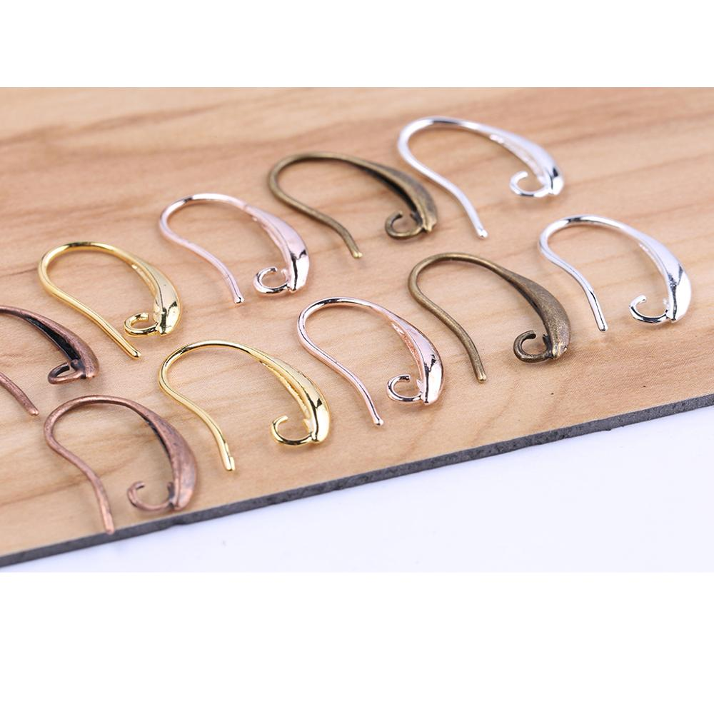 Onwear 20pcs Rose Gold Silver Earring Wires Hooks Diy Copper Earwire Clasps Findings For Jewelry Making Supplies