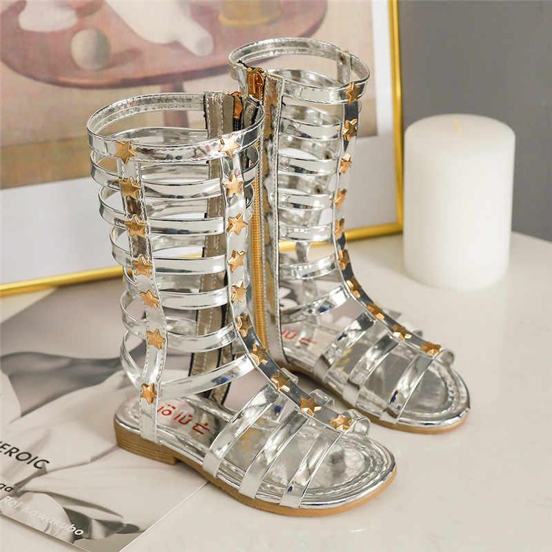 2019 estate nuovi sandali dei bambini delle ragazze di alta per aiutare a lungo tubo pattini Romani caricamenti del sistema freddi sandali neri sandali studenti