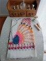 Индийский народный стиль перо шарф богема курорт крем от загара большие размер море шелк шаль