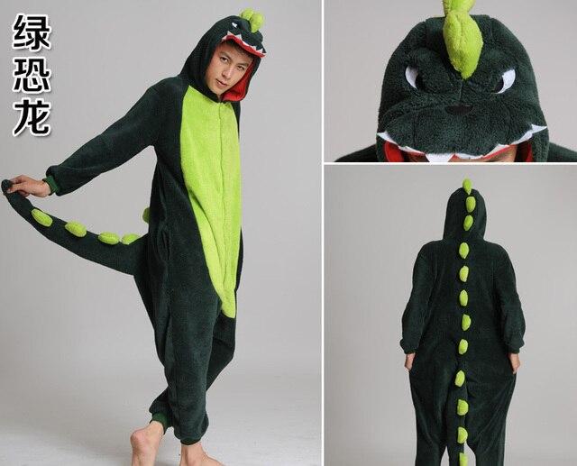 Franela dinosaurio verde traje Cosplay mujeres hombres Pijamas mono adulto  animal onesies dormir d4eec3a53146