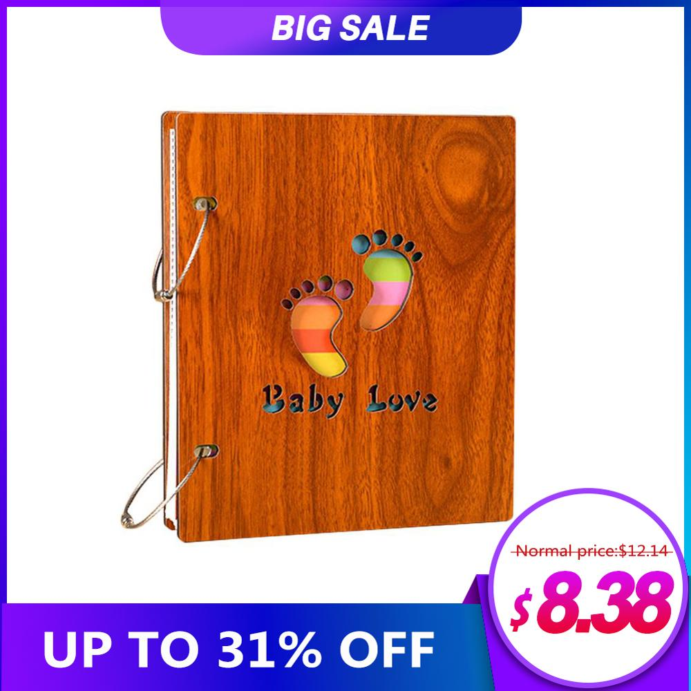 Baby Family Recording Album Wooden Baby Growing Up Recording Book Children's Commemorative Album Mommy And Baby Supply(China)