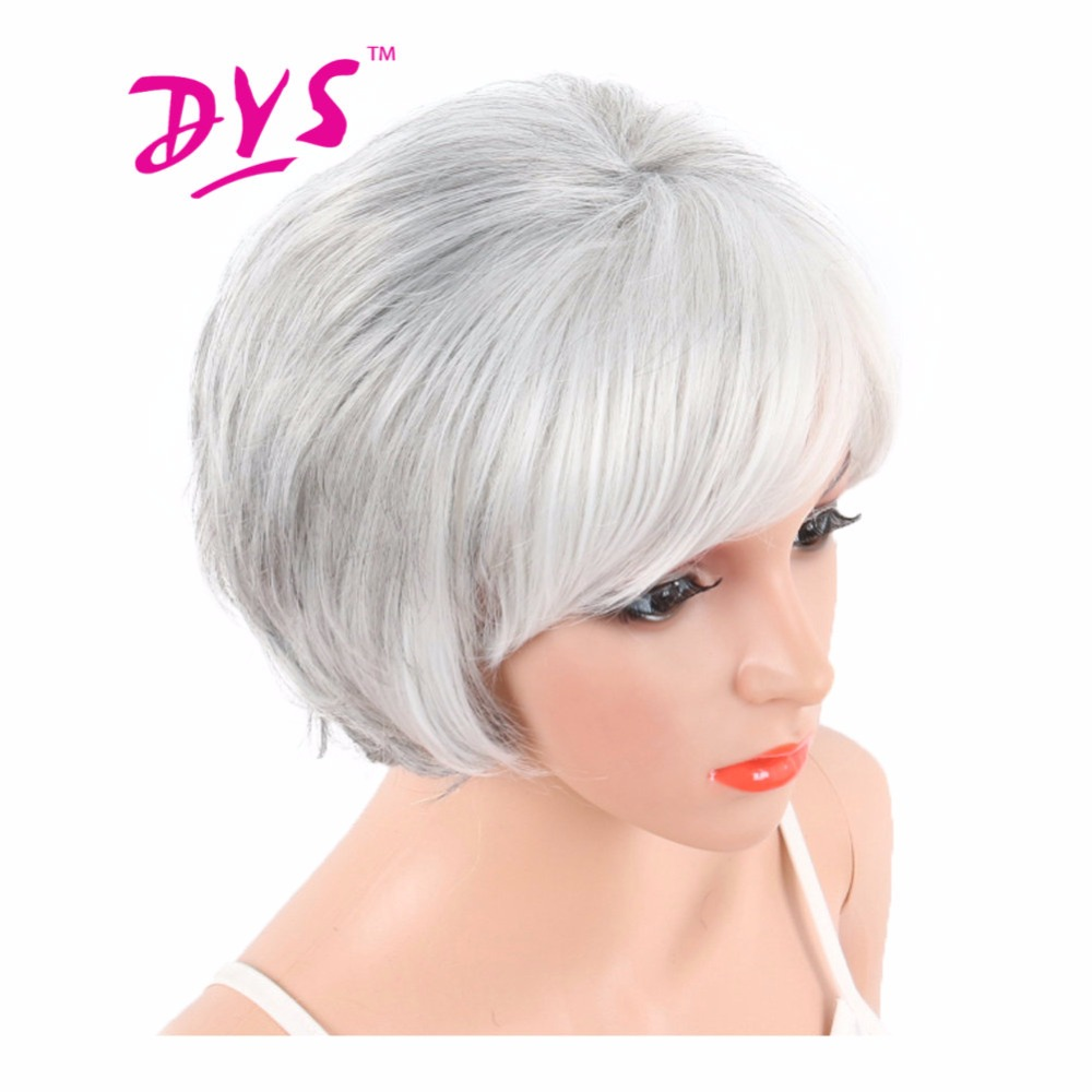 Deyngs White Straight Synthetic Wig With Bangs For Black White Women Natural Heat Resistant Pixie Cut Hair Brown Color Available