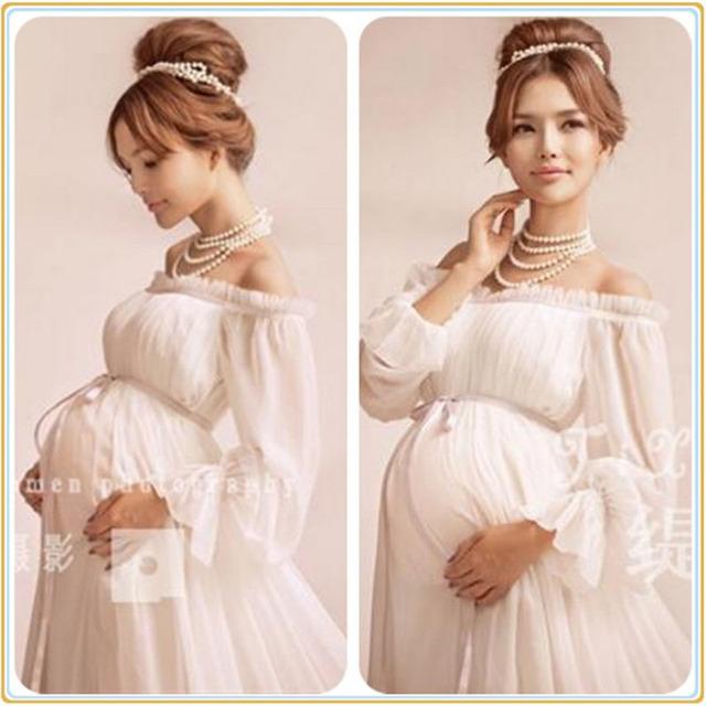 2017 royal estilo branco fotografia adereços sessão de fotos de maternidade gravidez maternidade lace dress grávida longo dress nightdress